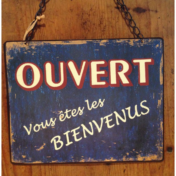 Plaque emaillee ouvert ferme 1